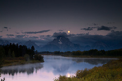 """Moon over Oxbow Bend at sunrise in Grand Teton National Park<br /> <br /> For production prints or stock photos click the Purchase Print/License Photo Button in upper Right; for Fine Art """"Custom Prints"""" contact Daryl - 208-709-3250 or dh@greater-yellowstone.com"""