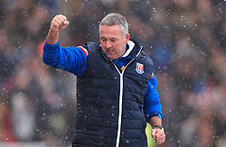 Stoke City manager Paul Lambert celebrates his sides first goal during the Premier League match at the bet365 Stadium, Stoke.