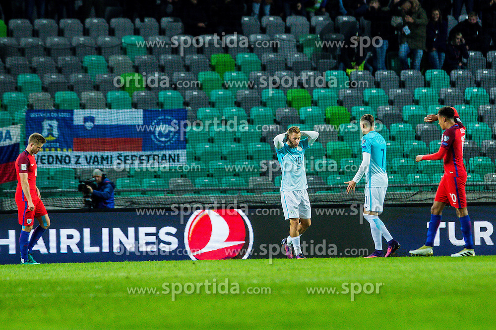 Valter Birsa of Slovenia with Josip Ilicic of Slovenia during football match between National teams of Slovenia and England in Round #3 of FIFA World Cup Russia 2018 qualifications in Group F, on October 11, 2016 in SRC Stozice, Ljubljana, Slovenia. Photo by Grega Valancic / Sportida