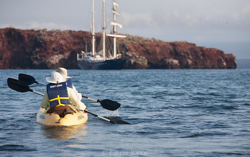 Kayakers returning to ship, Galapagos
