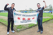 Chicago FGR supporters during the EFL Sky Bet League 2 match between Forest Green Rovers and Chesterfield at the New Lawn, Forest Green, United Kingdom on 21 April 2018. Picture by Shane Healey.