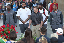 December 27, 2017 - Anaheim, CA, USA - From left, Georgia's Sony Michel, Isaiah Wynn, head coach Kirby Smart, Roquan Smith, and Nick Chubb are introduced at a news conference at Disney California Adventure Park for the Rose Bowl, on Wednesday, Dec. 27, 2017, in Anaheim, Calif. (Credit Image: © Curtis Compton/TNS via ZUMA Wire)