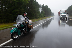 iPanhead Fred (Stephen Keith) riding his 1948 Indian Chief in the Cross Country Chase motorcycle endurance run from Sault Sainte Marie, MI to Key West, FL. (for vintage bikes from 1930-1948). Stage 1 from Sault Sainte Marie to Ludington, MI USA. Friday, September 6, 2019. Photography ©2019 Michael Lichter.