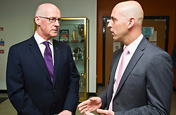 Pictured: John Swinney and St Augistine's Head Teacher Micahel McGee<br /> <br /> Deputy First Minister and Education Secretary John Swinney visited St Augiustine's RC High School in Edinburgh to speak to young people about attainment and leaving schools with the suite of statistics published today. St Augustine's RC High School<br /> <br /> <br /> Ger Harley | EEm 19 June 2018