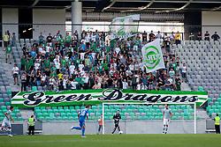 Green Dragons, fans of Olimpija, during football match between NK Olimpija Ljubljana and Tromsø IL  (NOR) in 1st Leg of UEFA Europa League 2013 2nd  Qualifying Round, on July 19, 2012 in SRC Stozice, Ljubljana, Slovenia. (Photo by Matic Klansek Velej / Sportida.com)