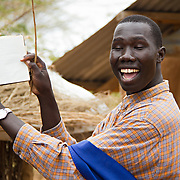 Teacher at a Sunday School for Gambela children. These refugees from Ethiopia are now part of the Christian minority among Dadaab's largely Muslim population. North Eastern Province, Kenya.