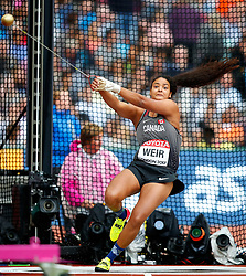 LONDON, Aug. 5, 2017  Jillian Weir of Canada competes during Women's Hammer Throw Qualification on Day 2 of the 2017 IAAF World Championships at London Stadium in London, Britain, on Aug. 5, 2017. (Credit Image: © Wang Lili/Xinhua via ZUMA Wire)