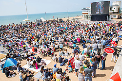 © Licensed to London News Pictures. 19/05/2018. Brighton, UK. Members of the public watch the royal wedding between HRH Prince Harry and Miss Rachel Meghan Markle live on a big screen on the beach in Brighton and Hove. Photo credit: Hugo Michiels/LNP