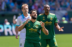 May 13, 2018 - Portland, OR, U.S. - PORTLAND, OR - MAY 13: Portland Timbers midfielder Diego Valeri regrets a missed goal chance during the Portland Timbers 1-0 victory over the Seattle Sounders on May 13, 2018, at Providence Park in Portland, OR. (Photo by Diego Diaz/Icon Sportswire) (Credit Image: © Diego Diaz/Icon SMI via ZUMA Press)