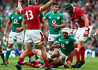 Rugby Union - 2019 pre-Rugby World Cup warm-up (Guinness Summer Series) - Ireland vs. Wales<br /> <br /> Rory Best (c) (Ireland) is tackled at The Aviva Stadium.<br /> <br /> COLORSPORT/KEN SUTTON