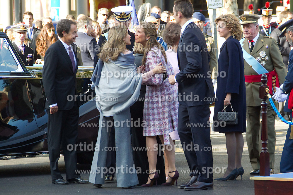 12.10.2010, Madrid, ESP, Spain National Day in Madrid, im Bild Princess Letizia, Prince Felipe, Princess Elena, Princess Cristina and Inaki Urdangarin, King Juan Carlos and Queen Sofia attend the military parade at Spain`s National Day in Madrid. Pictured Princess Letizia, Jose Luis Rodriguez Zapatero and Carme Chacon. EXPA Pictures © 2010, PhotoCredit: EXPA/ Alterphotos/ Cesar Cebolla +++++ ATTENTION - OUT OF SPAIN / ESP +++++