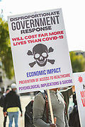 "People hold placards as thousands of protesters from across the UK gathered in London's Trafalgar Square on Saturday, Sept 19, 2020 - afternoon to protest against coronavirus restrictions and reject mass vaccinations. The event, which began at noon, drew a broad coalition including coronavirus sceptics, 5G conspiracy theorists and so-called ""anti-vaxxers"". Speakers at the event accused the government of attempting to curtail civil liberties. (VXP Photo/ Vudi Xhymshiti)"