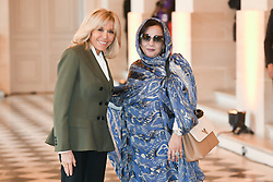 French President's wife Brigitte Macron welcomes Mauritanian President's wife Tekber Mint Melainine Ould Ahmed as they take part in a spousal event at the Chateau de Versailles in Versailles, near Paris, on November 11, 2018 as part of commemorations marking the 100th anniversary of the 11 November 1918 armistice, ending World War I. Photo By Laurent Zabulon/ABACAPRESS.COM