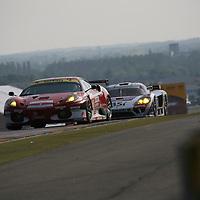 LMGT2 #95 Ferrari F430 GTC - AF Corse SRL with LMGT1 #50 Saleen S7-R - Larbre Competition, Le Mans 24H 2010