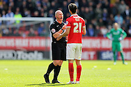 Referee Simon Hooper has a word with Morgan Fox of Charlton Athletic. Skybet football league championship match, Charlton Athletic v Brighton & Hove Albion at The Valley  in London on Saturday 23rd April 2016.<br /> pic by John Patrick Fletcher, Andrew Orchard sports photography.