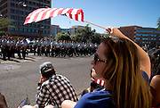 High school ROTC cadets march in the Veterans Day Parade, which honors American military veterans, in Tucson, Arizona, USA.
