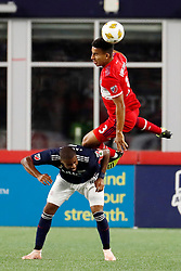 September 22, 2018 - Foxborough, MA, U.S. - FOXBOROUGH, MA - SEPTEMBER 22: Chicago Fire defender Brandon Vincent (3) heads the ball over New England Revolution defender Andrew Farrell (2) during a match between the New England Revolution and the Chicago Fire on September 22, 2018, at Gillette Stadium in Foxborough, Massachusetts. The teams played to a 2-2 draw. (Photo by Fred Kfoury III/Icon Sportswire) (Credit Image: © Fred Kfoury Iii/Icon SMI via ZUMA Press)