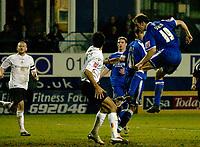 Photo: Daniel Hambury.<br />Luton Town v Cardiff City. Coca Cola Championship. 14/02/2006.<br />Cardiff's Riccardo Scimeca scores to make it 3-2.