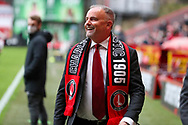 Charlton Athletic owner Thomas Sandgaard wearing scarf and smiling or laughing during the EFL Sky Bet League 1 match between Charlton Athletic and AFC Wimbledon at The Valley, London, England on 12 December 2020.