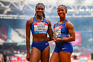 Women's 100m Final winner, Shelly-Ann FRASER-PRYCE of Jamaica and 2nd placed, Dina ASHER-SMITH of Great Britain & NI during the Muller Anniversary Games 2019 at the London Stadium, London, England on 21 July 2019.