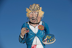 © Licensed to London News Pictures. 31/10/2018. Edenbridge, UK. An effigy of former foreign secretary Boris Johnson as it is unveiled in Edenbridge, Kent ahead of its burning at the town's bonfire this Saturday. Photo credit: Peter Macdiarmid/LNP
