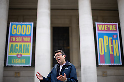 © Licensed to London News Pictures. 15/05/2021. Manchester, UK. Newly re-elected Manchester Metro Mayor ANDY BURNHAM holds a press conference in St Peter's Square in front of Manchester Central Library , central Manchester , to announce modifications in the city's approach to rough sleeping and homelessness and to address questions about the spread of Coronavirus in the North West and particularly Bolton . Photo credit: Joel Goodman/LNP