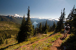 Joe Descending Switchback From Desolation Peak, North Cascades National Park, Washington, US