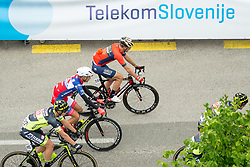 The cyclists and the Telekom Slovenije logo during 1st Stage of 25th Tour de Slovenie 2018 cycling race between Lendava and Murska Sobota (159 km), on June 13, 2018 in  Slovenia. Photo by Vid Ponikvar / Sportida