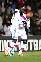 FOOTBALL - FRENCH CUP 2011/2012 - 1/8 FINAL - OLYMPIQUE LYONNAIS v GIRONDINS BORDEAUX - 8/02/2012 - PHOTO EDDY LEMAISTRE / DPPI -  JOY OF BAFE GOMIS AFTER HIS GOAL (OL) WITH JIMMY BRIAND