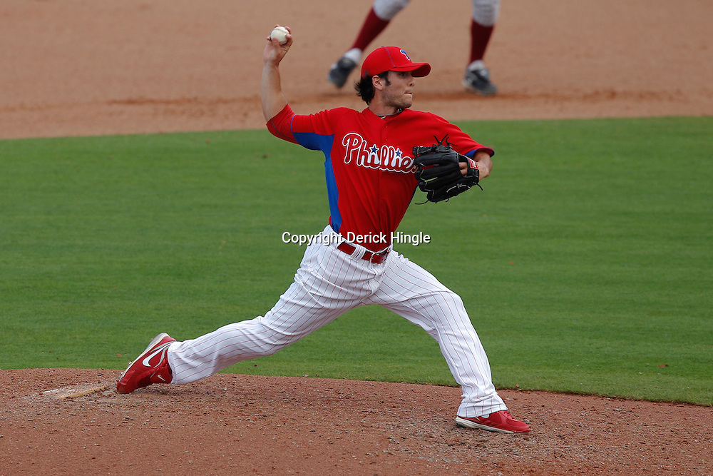 February 24, 2011; Clearwater, FL, USA; Philadelphia Phillies pitcher Michael Stutes (68) during a spring training exhibition game against the Florida State Seminoles at Bright House Networks Field. Mandatory Credit: Derick E. Hingle