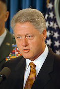 President Bill Clinton makes a statement on the Kosovo peace agreement and thanks NATO and US Forces for their efforts in the White House briefing room June 10, 1999 in Washington, DC.