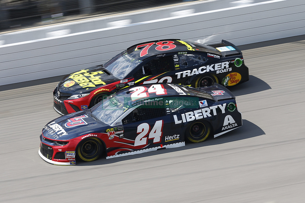 August 12, 2018 - Brooklyn, Michigan, United States of America - William Byron (24) and Martin Truex, Jr (78) battle for position during the Consumers Energy 400 at Michigan International Speedway in Brooklyn, Michigan. (Credit Image: © Chris Owens Asp Inc/ASP via ZUMA Wire)