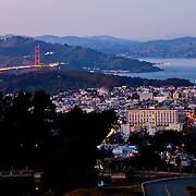 View of San Francisco's Pacific Heights area from Twin Peaks Summit at dusk.