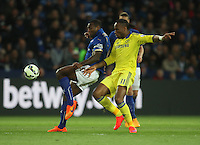 Leicester City's Wes Morgan (L) and Chelsea's Didier Drogba in action during todays match  <br /> <br /> Photographer Jack Phillips/CameraSport<br /> <br /> Football - Barclays Premiership - Leicester City v Chelsea - Wednesday 29th April 2015 - King Power Stadium - Leicester<br /> <br /> © CameraSport - 43 Linden Ave. Countesthorpe. Leicester. England. LE8 5PG - Tel: +44 (0) 116 277 4147 - admin@camerasport.com - www.camerasport.com