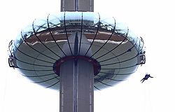 A person abseiling from the British Airways i360 in Brighton during the iDrop charity abseil to raise money for Rockinghorse, the fundraising arm of the Royal Alexandra ChildrenÕs Hospital.