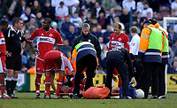 Photo: Jed Wee.<br /> Preston North End v Middlesbrough. The FA Cup. 19/02/2006.<br /> <br /> Middlesbrough lose Fabio Rochemback to what looks a serious injury just before half time.