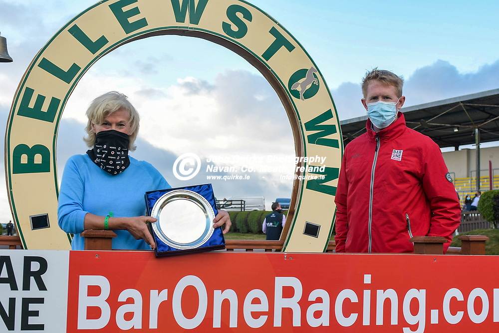 Trainer, Mrs Denise Foster wiht her trophy after 'Say Goodbye' won 'The Bar One Racing `30 Euro Free Bet New Account Offer` Mares Maiden Hurdle' at Bellewstown Races.<br /> <br /> Also in photo is john McDonnell of Bar one Racing.<br /> <br /> Photo: GERRY SHANAHAN-WWW.QUIRKE.IE<br /> <br /> 03-07-2021