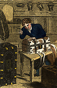'The Trunk Maker's trade would also include making chests, portmaneaus,  buckets and cutlery boxes. His materials were mainly wood and leather.  Hand-coloured woodcut from ''The Book of English Trades'', London, 1823.'