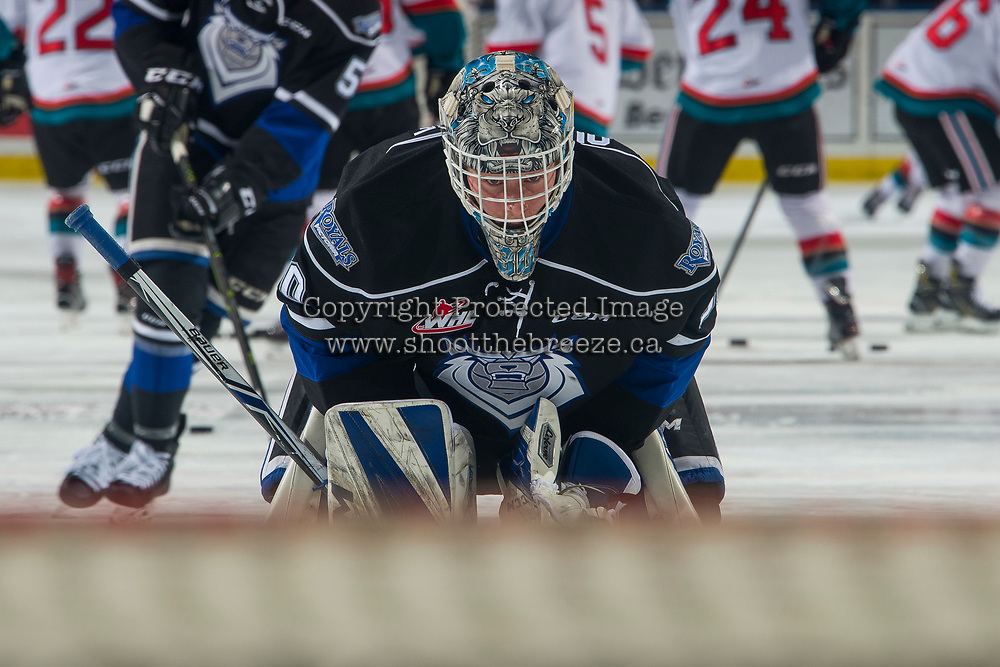 KELOWNA, CANADA - JANUARY 25:  Griffen Outhouse #30 of the Victoria Royals stands on the ice during warm up against the Kelowna Rockets on January 25, 2019 at Prospera Place in Kelowna, British Columbia, Canada.  (Photo by Marissa Baecker/Shoot the Breeze)