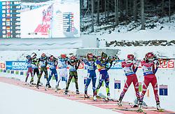 (R-L) Hilde Fenne (NOR), Tiril Eckhoff (NOR), Marie Dorin Habert (FRA), Gabriela Soukalova (CZE), Franziska Hildebrand (GER)  during Women 12.5 km Mass Start at day 4 of IBU Biathlon World Cup 2015/16 Pokljuka, on December 20, 2015 in Rudno polje, Pokljuka, Slovenia. Photo by Vid Ponikvar / Sportida