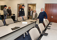 Visitors in the new classroom facilities at the New Hampshire Department of Safety Division of State Police Marine Patrol building on Tuesday morning.  (Karen Bobotas/for the Laconia Daily Sun)