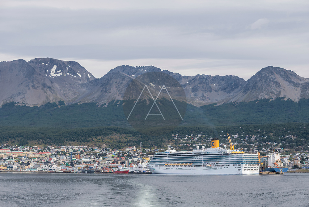 Ushuaia, Argentina - 03 February 2019: View of a cruise ship anchored at Ushuaia city harbour, Tierra del Fuego, Patagonia, Argentina.