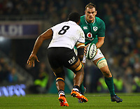 Rugby Union - 2017 Guinness Series (Autumn Internationals) - Ireland vs. Fiji<br /> <br /> Rhys Ruddock (c) (Ireland) in action against Nemani Nagusa (Fiji), at the Aviva Stadium.<br /> <br /> COLORSPORT/KEN SUTTON