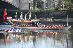 April 2, 2017 - London, United Kingdom - The Queen's Rowbarge Gloriana carries  is seen at Chiswick, London on April 2, 2017. Gloriana is a 90-foot-long (27 m) British royal barge, privately commissioned as a tribute to Queen Elizabeth II for her Diamond Jubilee. (Credit Image: © Alberto Pezzali/NurPhoto via ZUMA Press)