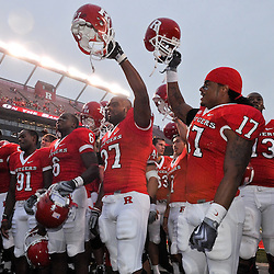 Sep 12, 2009; Piscataway, NJ, USA; The Rutgers Scarlet Knights celebrate after their 45-7 victory over Howard in NCAA college football at Rutgers Stadium