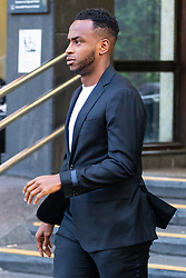 Footballer Saido Berahino leaves Highbury Corner Magistrates Court where he was sentenced to a 30 month driving ban and a £75,000 fine for drink driving. London, May 15 2019.
