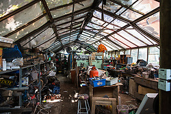 Sipson, UK. 5th June, 2018. A greenhouse at Grow Heathrow. Grow Heathrow is a squatted off-grid eco-community garden founded in 2010 on a previously derelict site close to Heathrow airport to rally support against government plans for a third runway and it has since made a significant educational and spiritual contribution to life in the Heathrow villages, which remain threatened by Heathrow airport expansion.