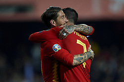 March 23, 2019 - Valencia, Valencia, Spain - Sergio Ramos of Spain celebrates after scoring his sides first goal during the 2020 UEFA European Championships group F qualifying match between Spain and Norway at Estadi de Mestalla on March 23, 2019 in Valencia, Spain. (Credit Image: © Jose Breton/NurPhoto via ZUMA Press)