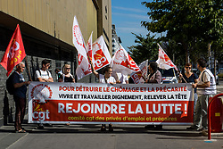 August 4, 2017 - Lyon, France - Members of the CGT demonstrate during the visit of the Minister of Labor Muriel Penicaud to the employment agency of the Part Dieu in Lyon on 4 August 2017, France. (Credit Image: © Nicolas Liponne/NurPhoto via ZUMA Press)