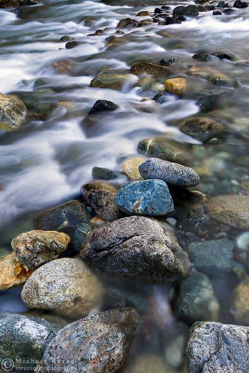 Rock of various colours along Gold Creek at Golden Ears Provincial Park in Maple Ridge, British Columbia, Canada